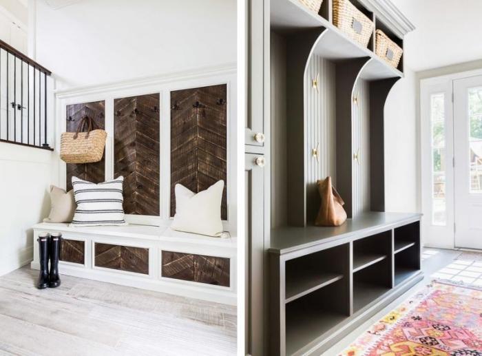 modèle de déco chaleureuse d'entrée en bois et blanc avec banc et coussins, tapis à design géométrique multicolore