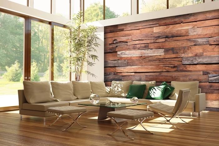 aménagement salon spacieux avec meubles de bois et décoration murale en papier peint imitation bois foncé