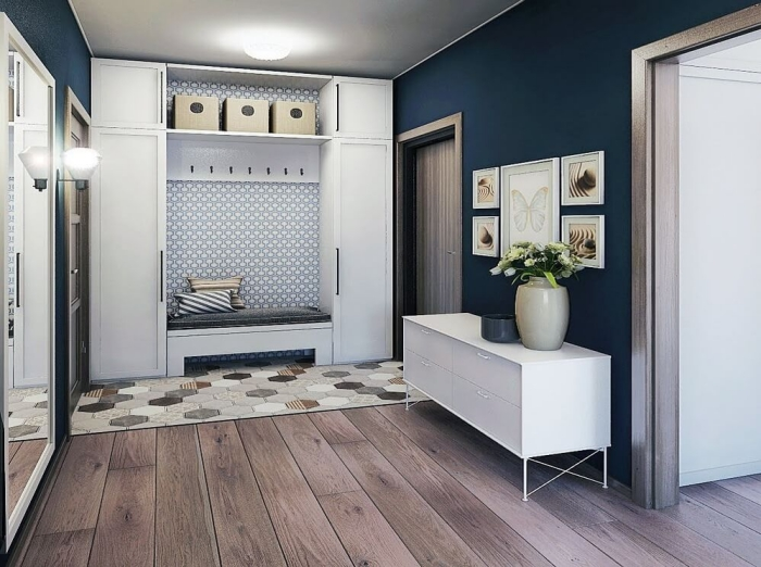 peinture murale de nuance bleu foncé combinée avec meubles blancs et modèle de revêtement plancher à imitation bois