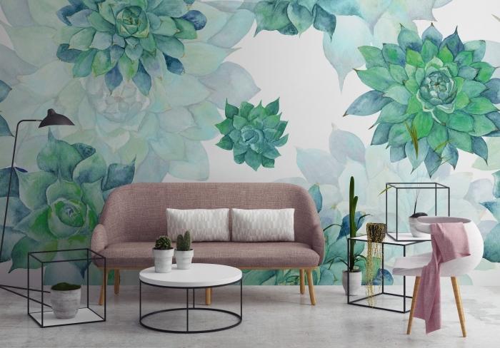 déco de salon aux meubles blanc et noir avec murs en papier peint fleuri blanc et vert, modèle de table basse en blanc et noir de style industriel