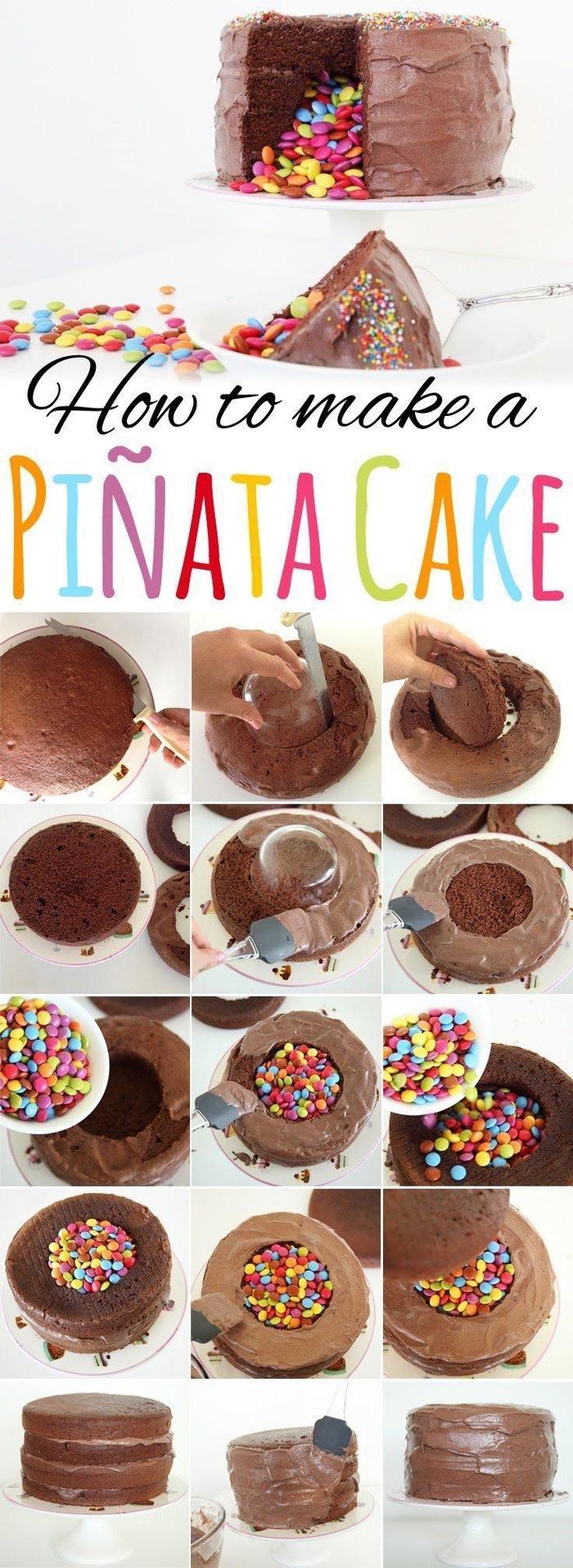 tuto étape par étapes pour réaliser un gateau anniversaire facile façon pinata cake au chocolat et aux smarties