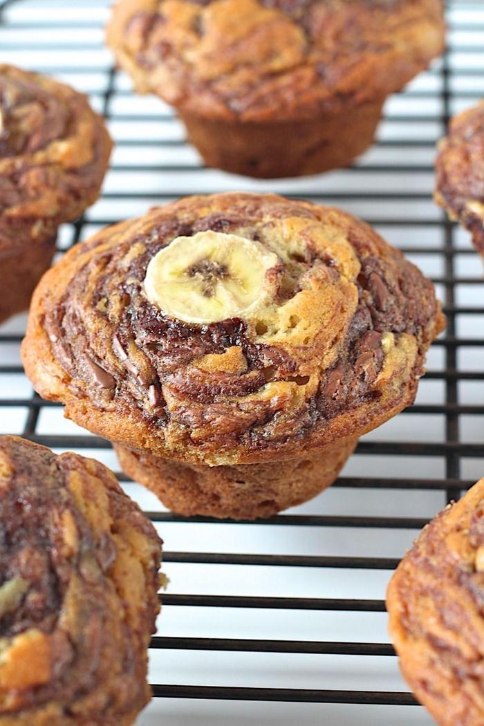 recette facile et rapide de muffin nutella marbré aux bananes ultra moelleux