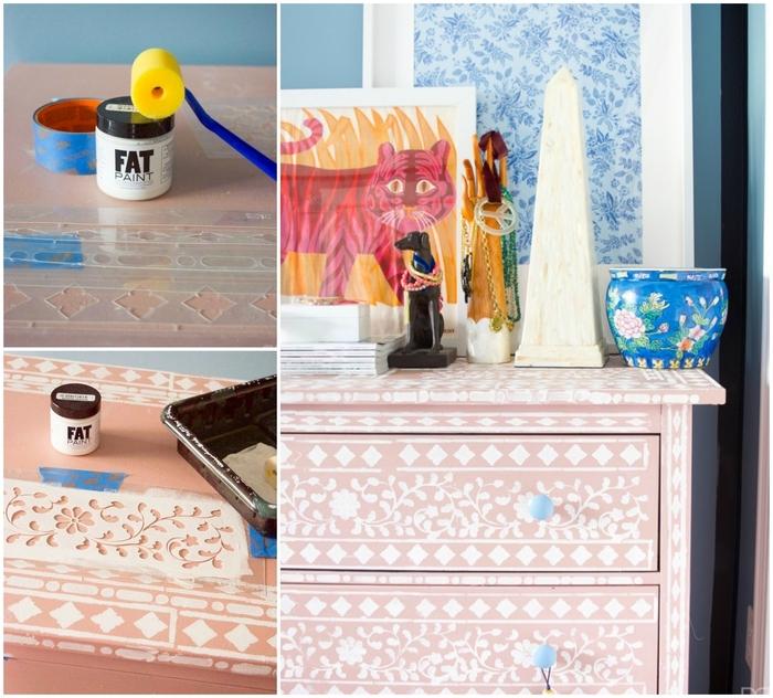 le relooking facile d'une commode grâce à la technique de peinture au pochoir, idée diy pour décorer sa chambre sans tout changer