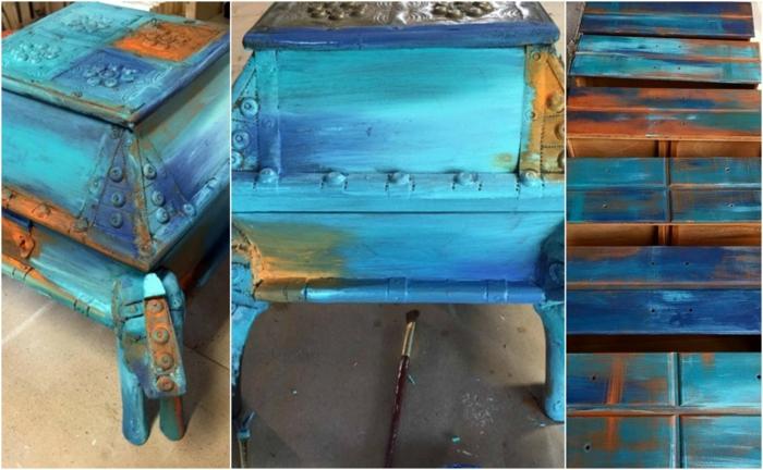 comment repeindre un meuble en bois, technique bermuda blending bleu et orange