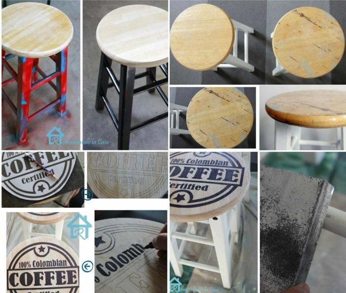 repeindre un meuble en bois, tabouret de cuisine style shabby chic, peinture chippy