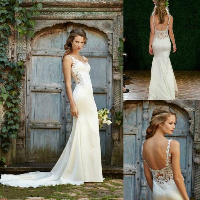robe de mariée champetre longue traîne, partie haute en dentelle et dos nu