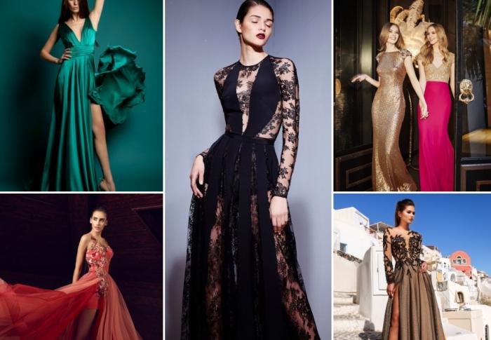 différents modèle de robes officielles longues à design asymétriques, robe noire à dentelle florale avec volants et manches longues