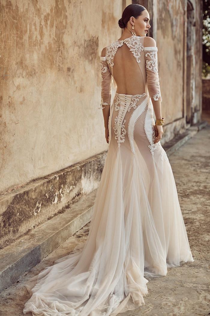 robe de mariée dos nu longue transparente, tenue mariage originale sexy
