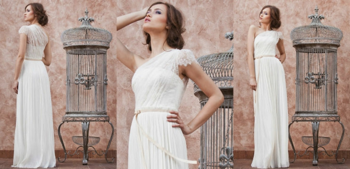 robe mariée grecque, style décontracté, chignon loose et partie supérieure asymétrique