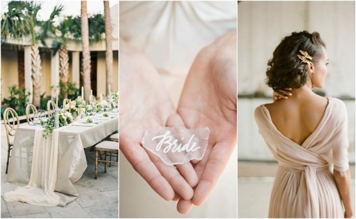 décoration romantique pour un mariage champêtre, robe rose poudré, grande table avec une nappe blanche