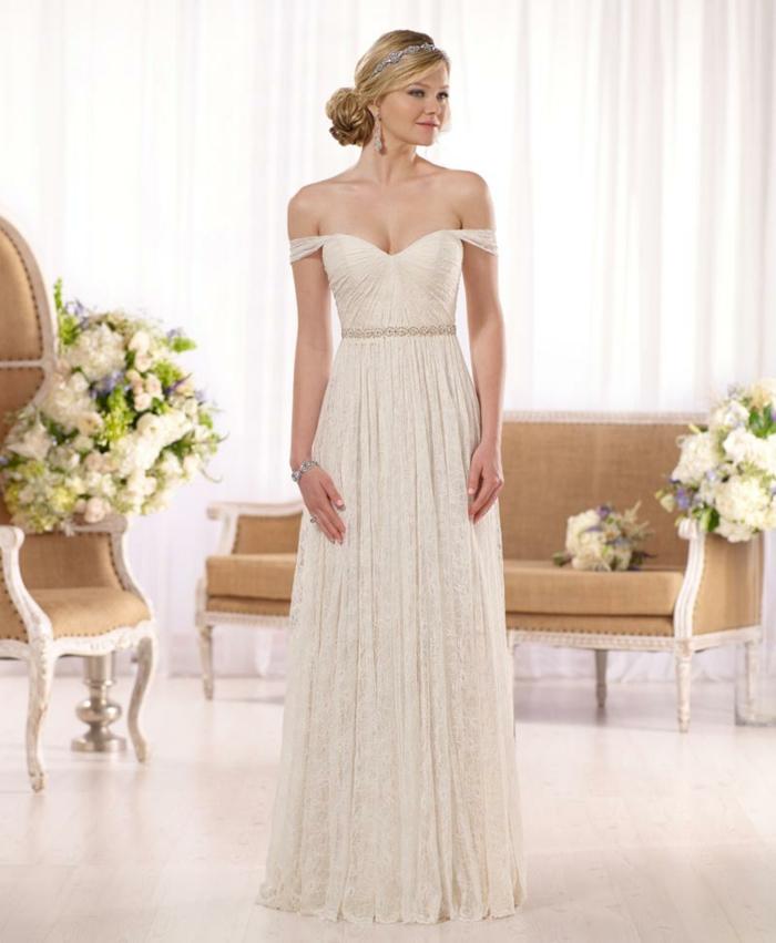 robe boheme mariage épaules tombantes, robe qui s'évase, couleur écru