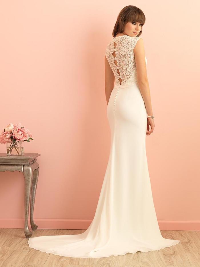 longue robe de soirée pour mariage moulante blanche, robe de mariée princesse blanche