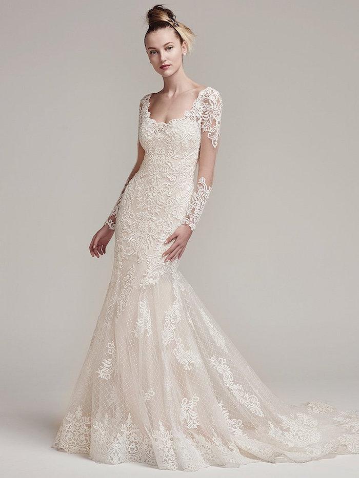 robe de cérémonie femme pour mariage, robe longue blanche originale avec manches longues