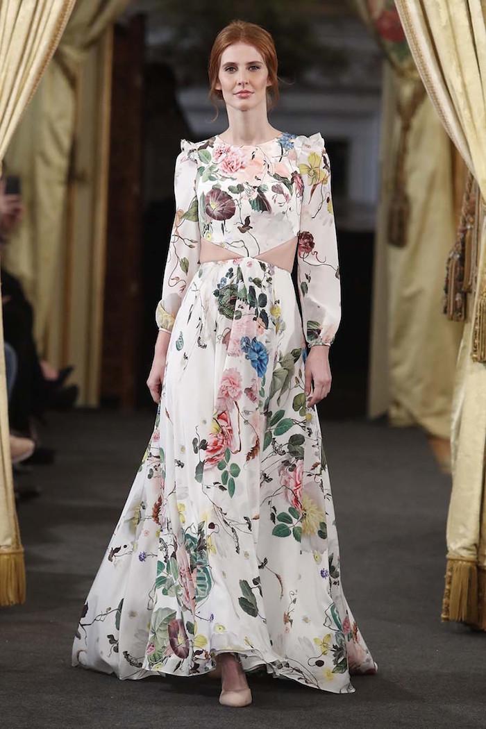 idee robe de mariée originale vintage à fleurs style boheme champêtre chic