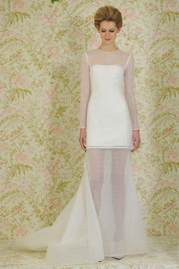 robe mariée manche longue vintage, robe retro style années 60 courte