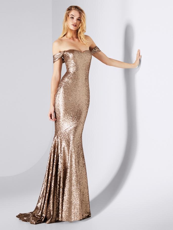 robe sirène longue avec manches courtes tombantes de couleur or à effet brillant