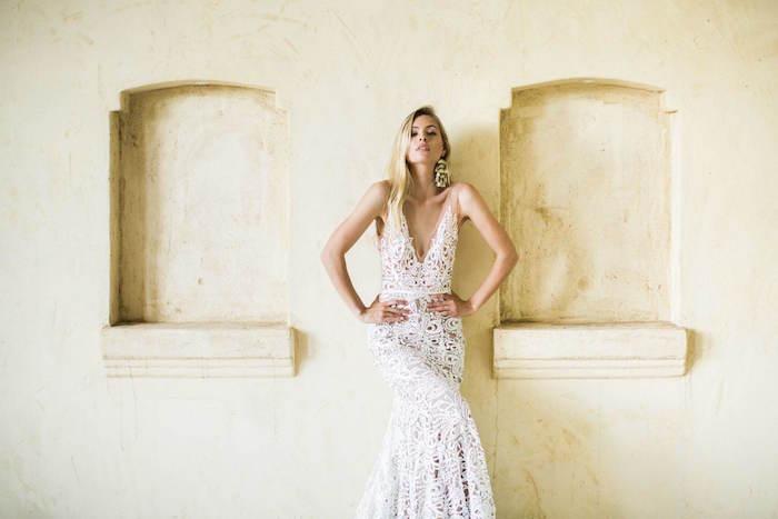 robe de cérémonie femme pour mariage boheme chic en dentelle longue