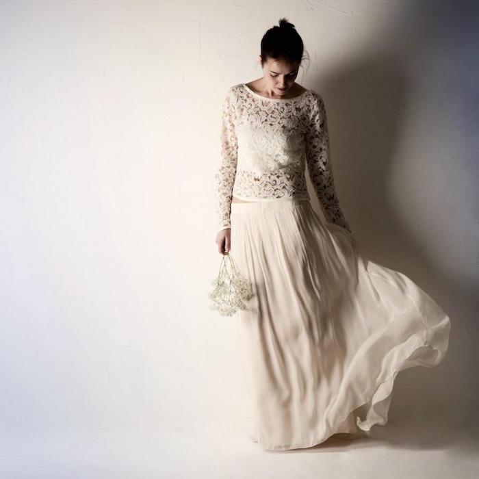 tenue pour mariage boheme chic, jupe longue champetre pour mariée