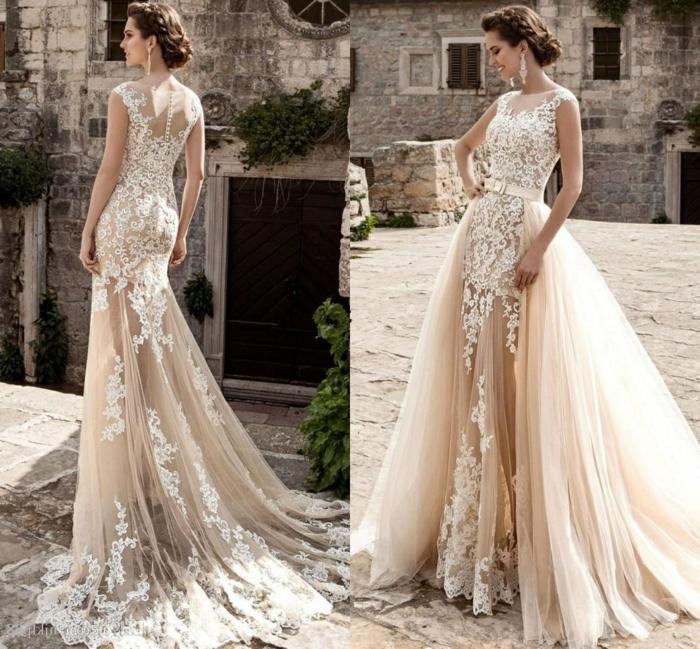 robe mariee boho composée de deux parties, silhouette type sirène, chignon
