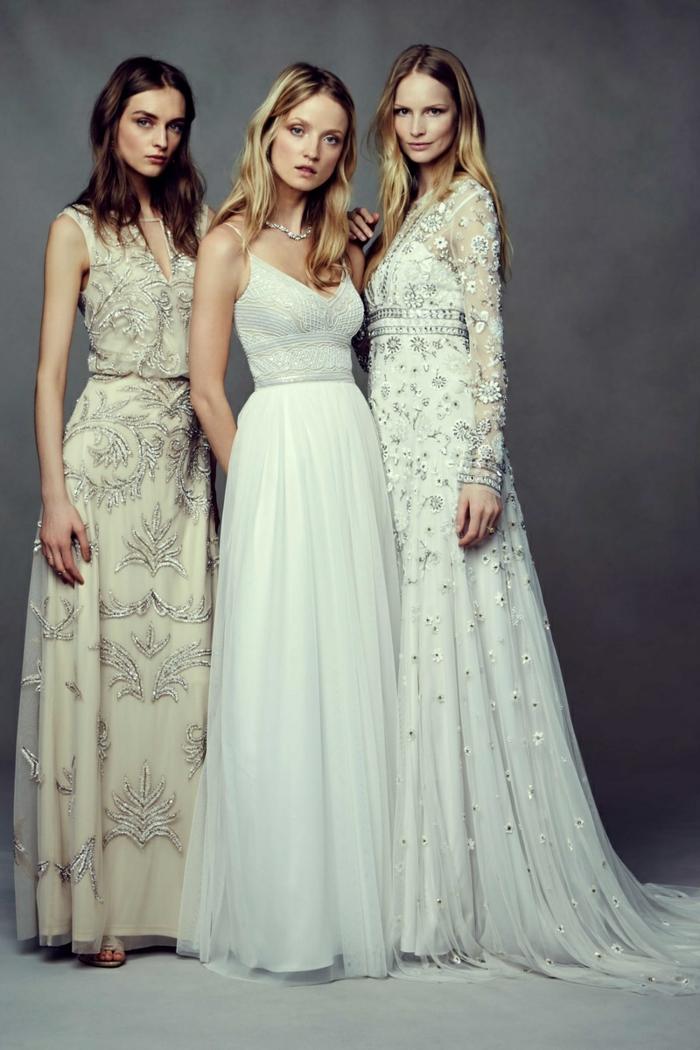 robes de mariée évasées, silhouettes féminines, couleurs claires et broderies
