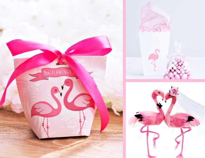 exemples de cadeau invité à design flamant rose pour les invités au mariage à thème tropical, boîte rose avec dessin couple flamants