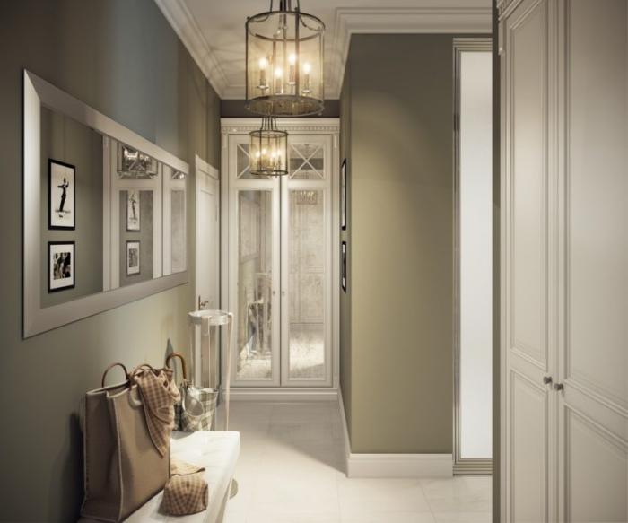 avec quelle couleurs associer le blanc pour la déco de couloir moderne, plafond blanc avec déco de plâtre