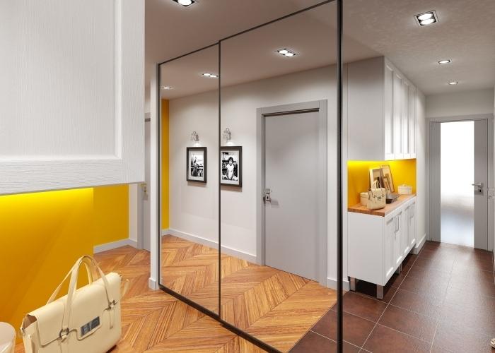 avec quelle couleur associer le jaune dans la déco moderne de couloir et entrée, meuble garde-robe couloir moderne à portes miroirs