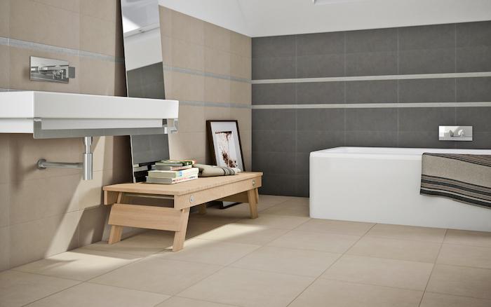 modele de salle de bain beige et gris rénovée, credence carrelage sol sdb beige, faience murale grise et beige pour salle de bain