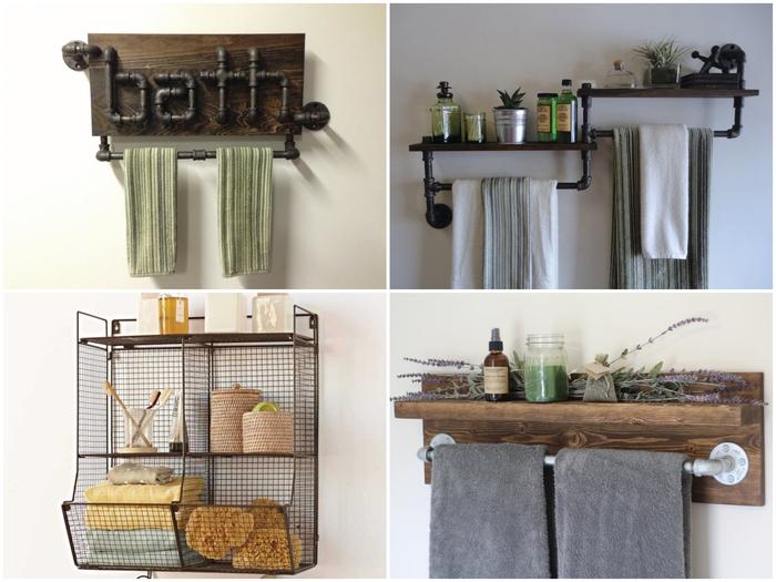 des tuyaux porte-serviettes et des étagères en métal filaire pour une déco récup authentique et fonctionnelle dans la salle de bain industrielle