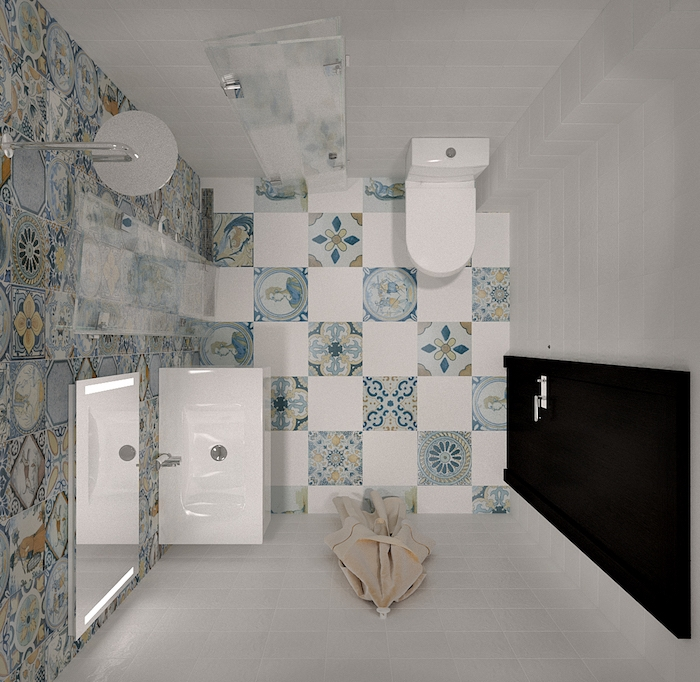 rangement salle de bain petite surface avec carrelage blanc et patchwork carreaux style oriental portudais, wc et lavabo blanc