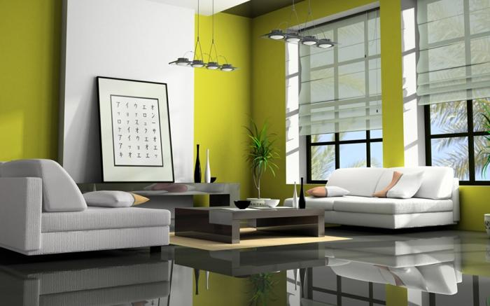 deco ethnique, deco salon zen, murs en vert réséda, carrelage noir et brillant, luminaires suspendus en métal gris, canapés blanc et gris
