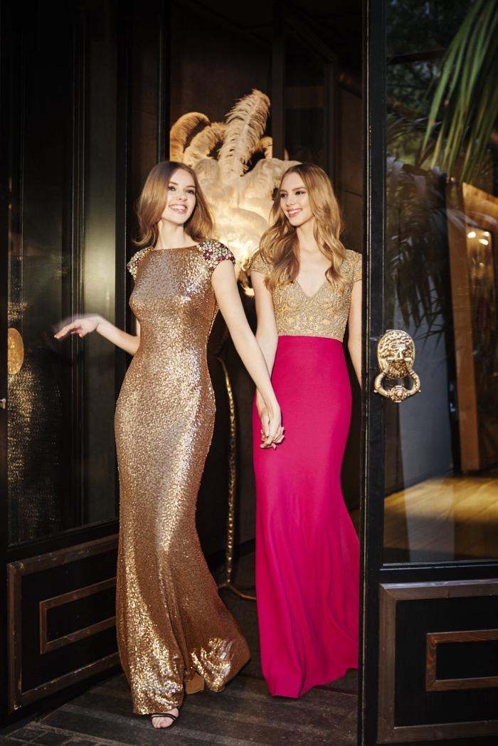 modèles de robe de soirée cérémonie à design brillant de glitter doré, exemple de robe deux pièces en jupe fuchsia et haut aux manches courtes doré