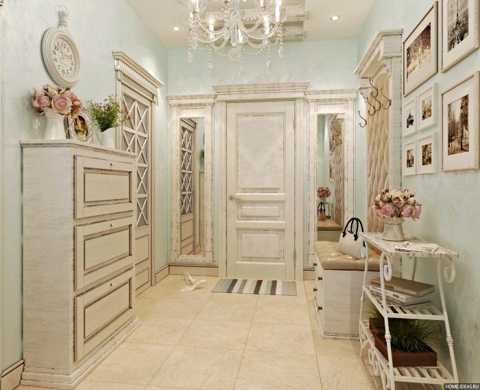 idée déco entrée maison aux murs à design ciel bleu clair avec meubles de style vintage en bois clair et accessoires blancs