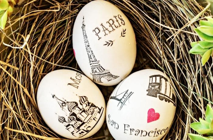 décorer les oeufs de paques avec dessin de sites touristiques et noms des villes, panier de paques aux oeufs blancs