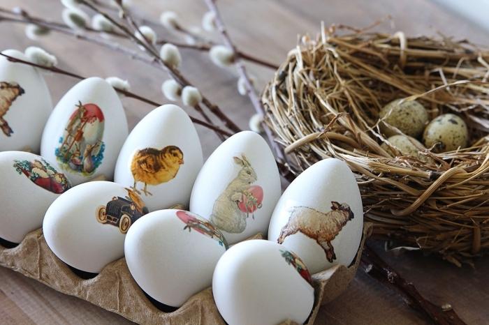 modèles d'oeufs à coquille blanche décorés avec stickers autocollants à motifs lapins et poulet de paques