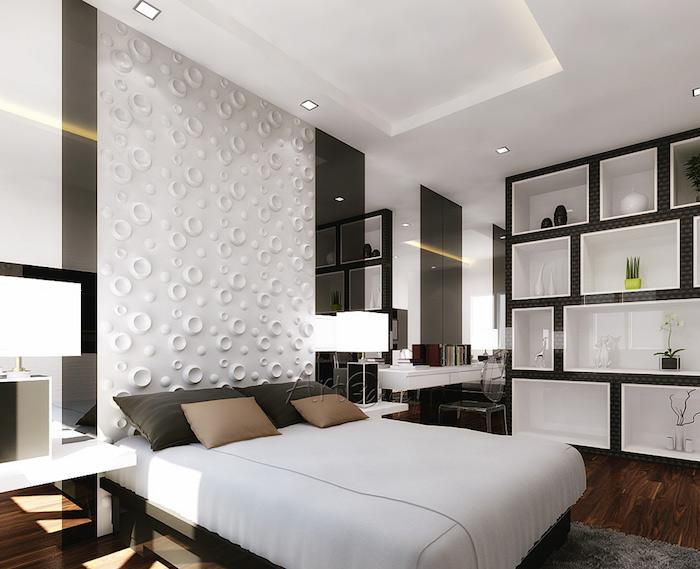 modele de chambre parentale moderne avec etageres design, idée décoration murale design