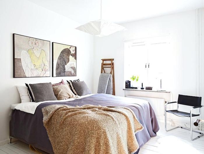 Superbe magasin deco murale scandinave tableau scandinave chambre à coucher lit