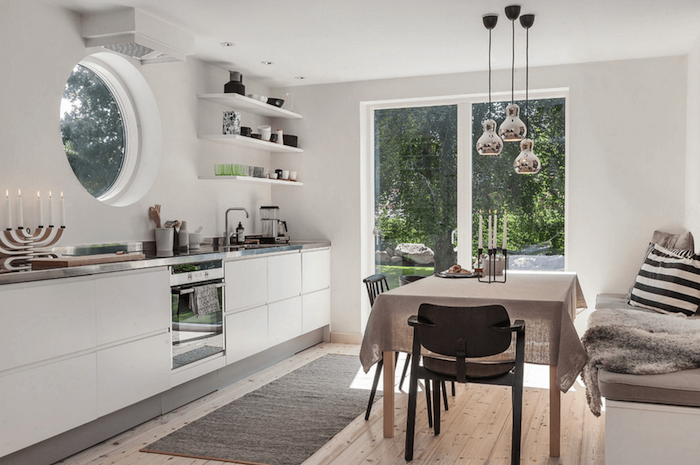 Ambiance scandinave deco scandinave interieur style en blanc cuisine et salle à manger villa nature