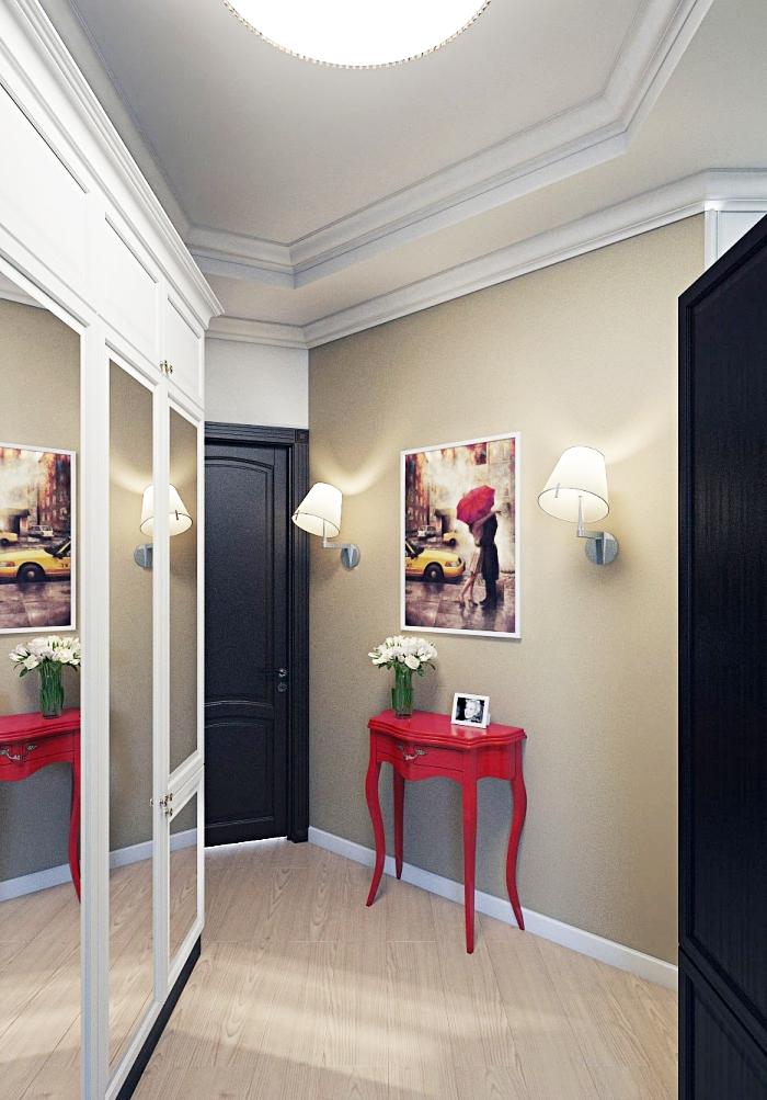 comment aménager intérieur aux meuble entrée couloir rouge et noir avec murs taupe et plafond blanc avec bordure plâtre