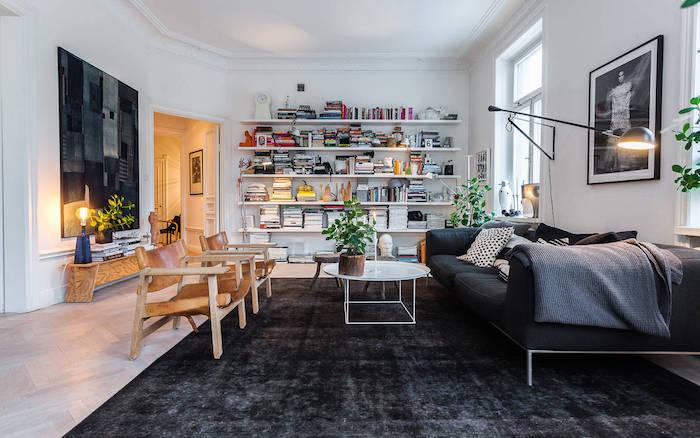 Table d'appoint scandinave deco image deco nordique grande sofa gris cosy ambiance bibliotheque nordique