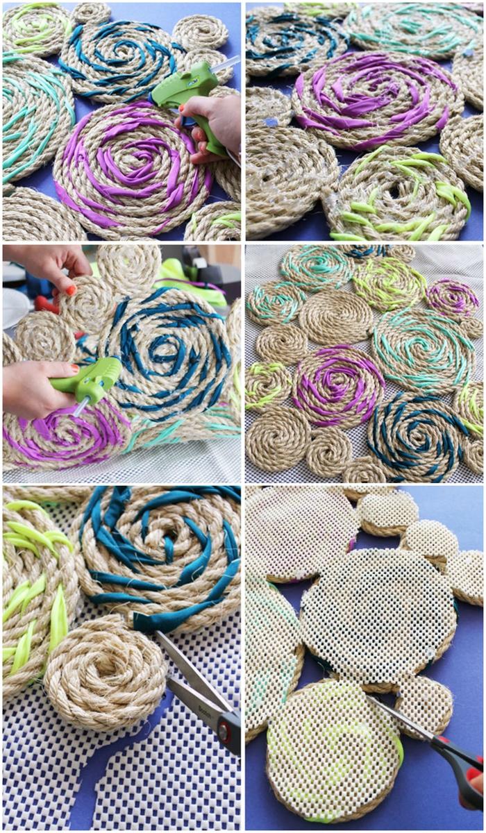 comment réaliser un tapis original en corde et en tissu pour une décoration chambre à coucher bohème chic pleine de couleur et de gaieté