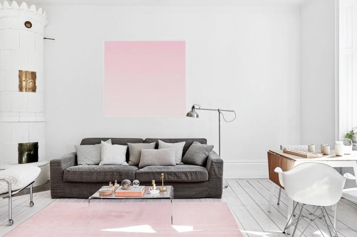 quelle couleur associer au gris, déco de salon blanc avec cheminée, canapé gris combiné avec tapis rose pastel