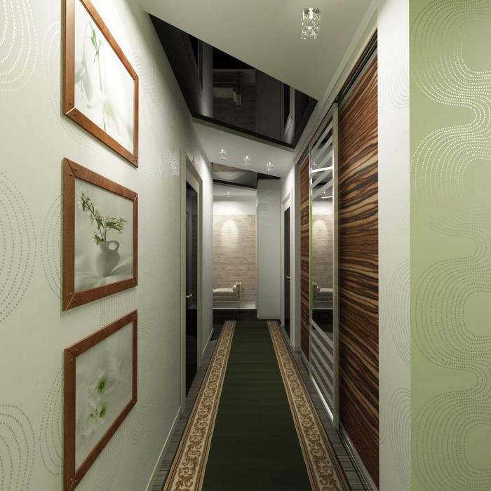 idée peinture couloir et entrée aux murs vert clair et plafond blanc avec éclairage led et fenêtre de plafond a verre noire