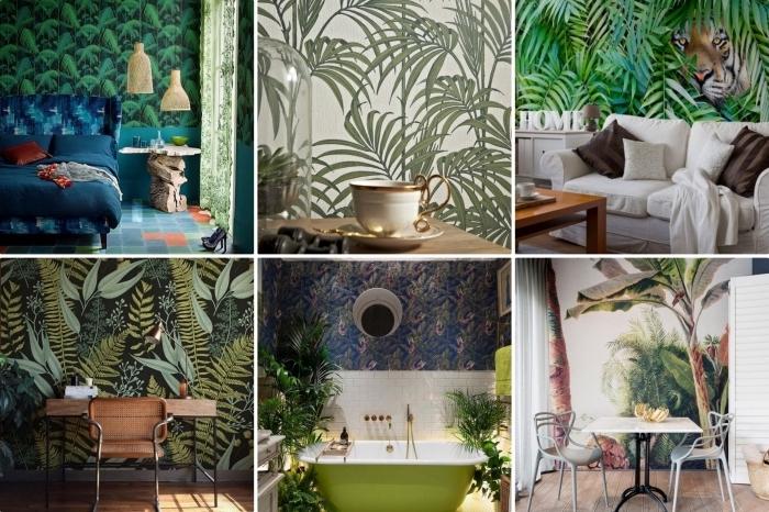 design intérieur moderne avec papier peint jungle tropicale, déco de chambre à coucher en vert et bleu foncé, aménagement de salle de bain en style exotique