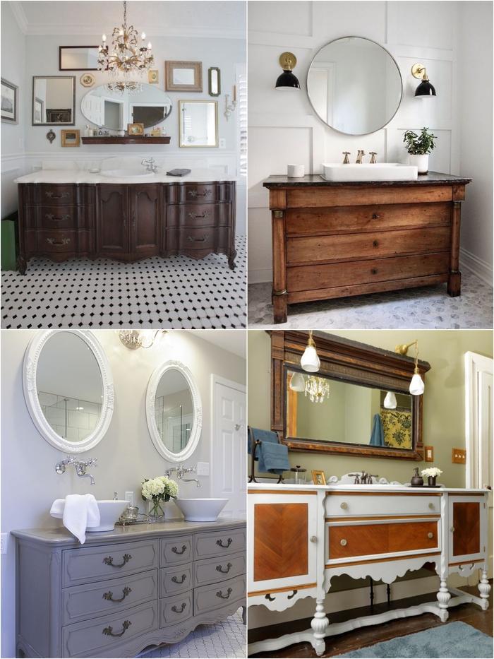 un meuble recup au look d'antan pour une touche d'originalité dans la salle de bain contemporaine