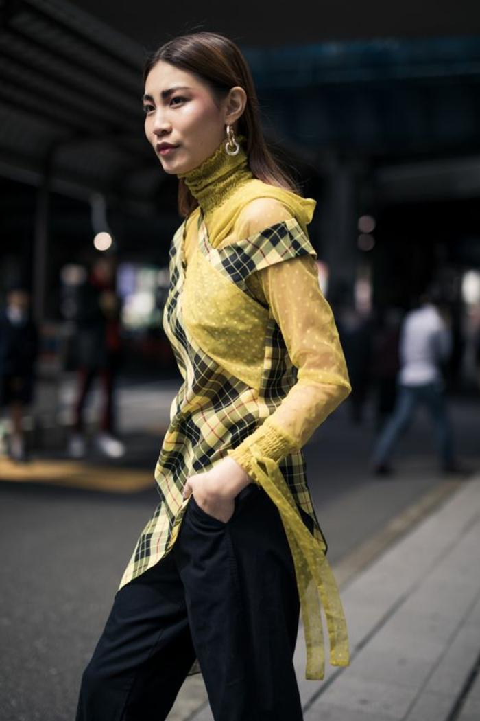 casual chic femme, pantalon habillé femme en noir, top pull en dentelle jaune recouvert de dessus asymétrique aux carreaux jaunes et noirs, tenue décontractée femme