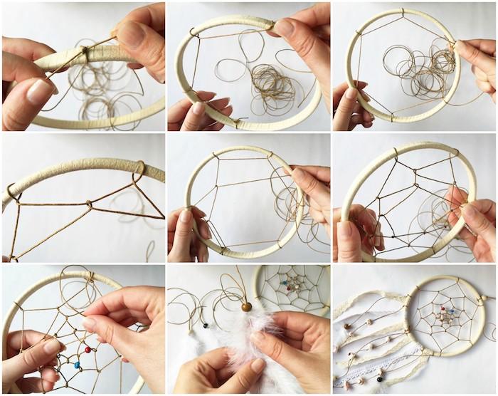exemple attrape reve tuto, cerceau enveloppé de cordon en cuir avec un filet en cordon ciré, tissage toile et décoration