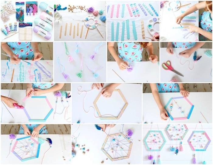 tuto attrape reve enfant en batonnets de glace repeints avec des fils colorés, perles et pompons à franges