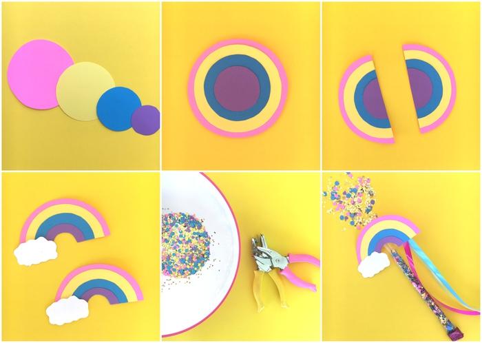 comment réaliser une baguette arc-en-ciel remplie de confettis, idée pour une activité anniversaire fille