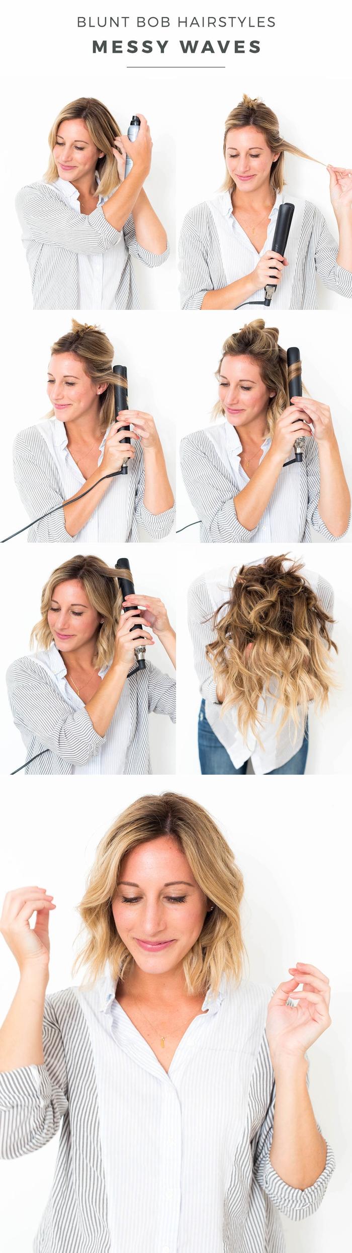 tuto pour réaliser de jolies boucles au lisseur sur un carré mi long ombré hair pour une vision ultra tendance